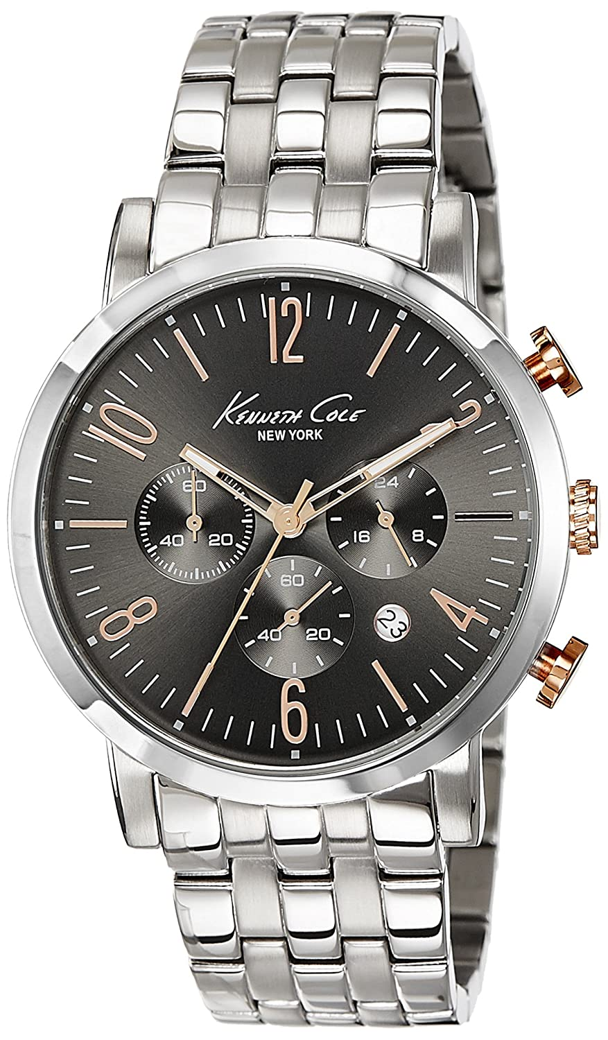 Amazon.com: Kenneth Cole New York Mens 10020828 Dress Sport Analog Display Japanese Quartz Silver Watch: Watches