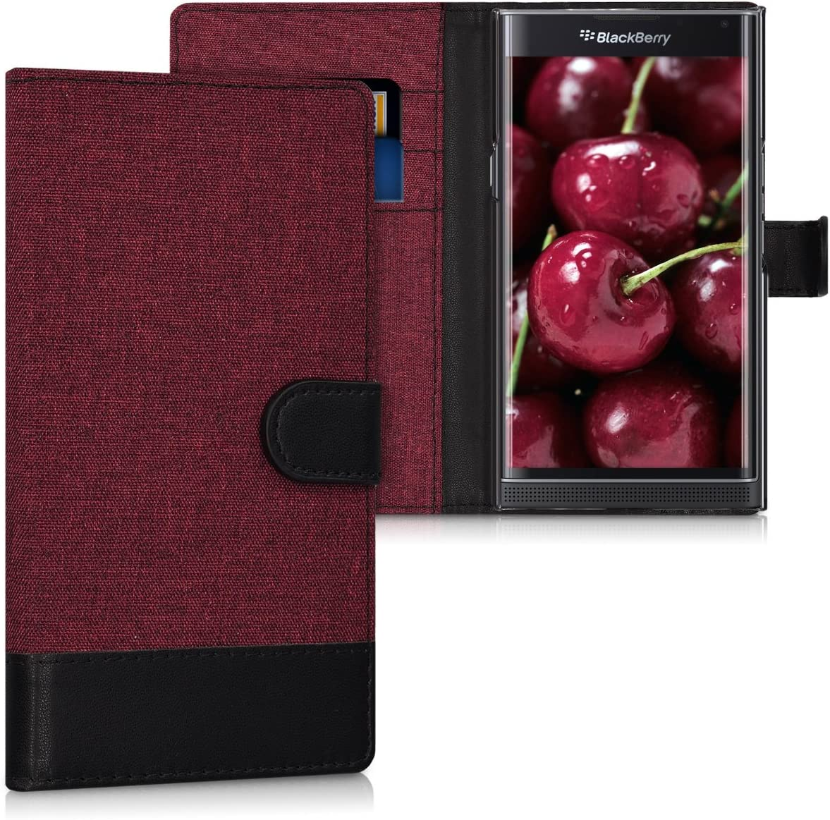 Wallet Case Compatible with BlackBerry Priv - Fabric Faux Leather Cover with Card Slots, Stand -