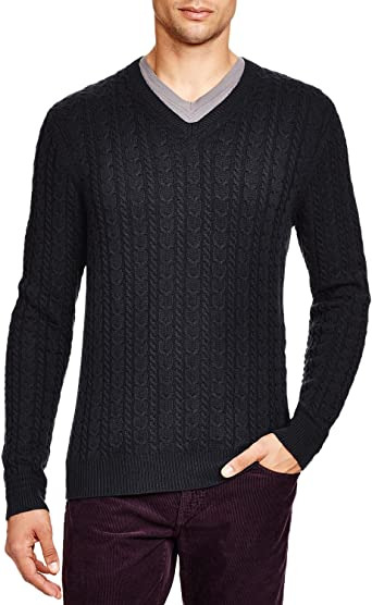 Bloomingdale's Mens Wool & Cashmere Cable V Neck Sweater