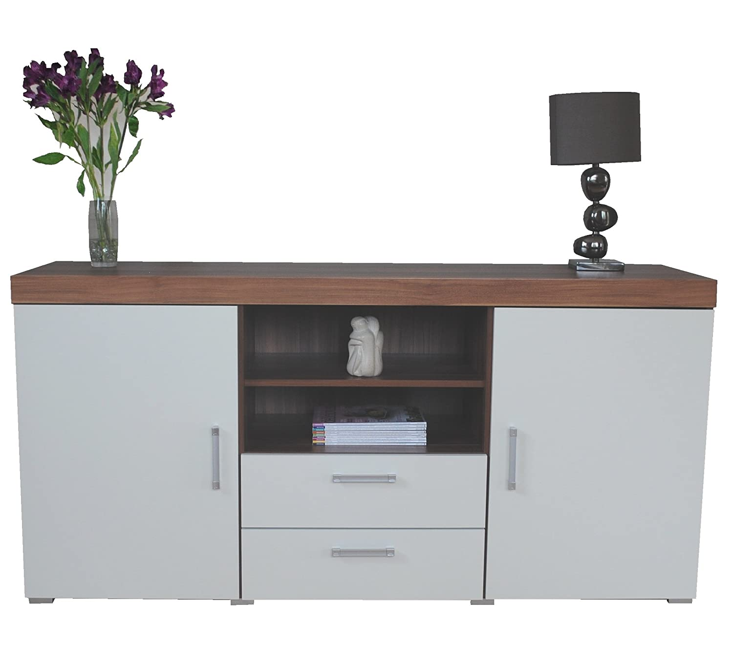 Sydney White & Walnut Large 2 Door 2 Drawer Sideboard DRP Trading