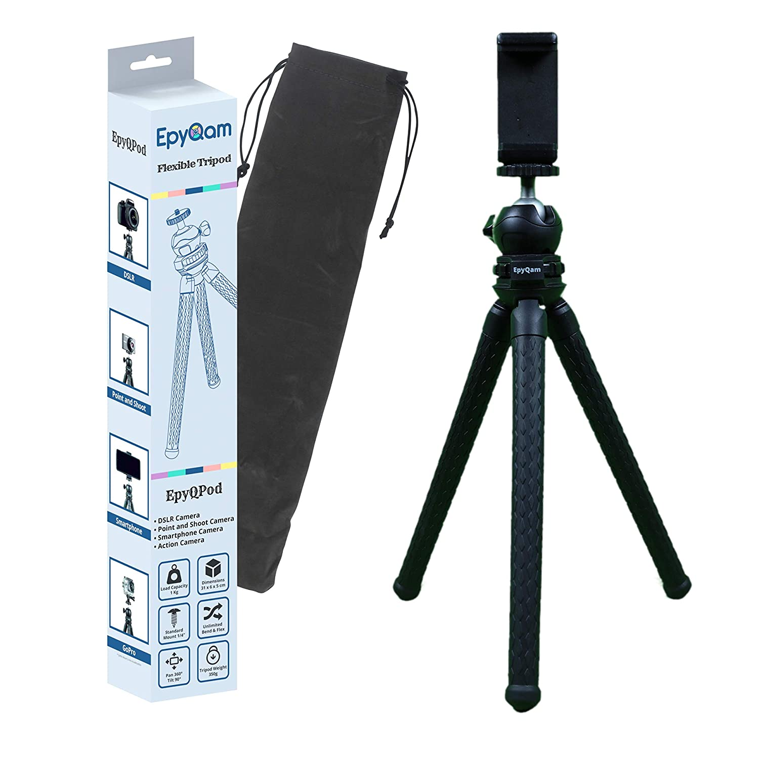 Epyqam Flexible Tripod For DSLR Camera And Mobile Phone (Black)