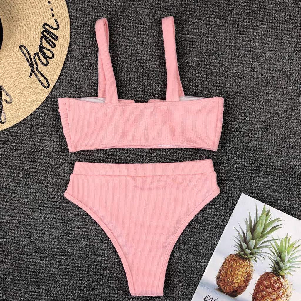 TRISEE Bikini da Donna Costume da Bagno Due Pezzi Brasiliano Costumi da Bagno da Mare Costume Intero Push Up Imbottito Costume da Bagno di Colore Puro Rosa//Giallo//Bianco//Arancione//Nero//Rosso