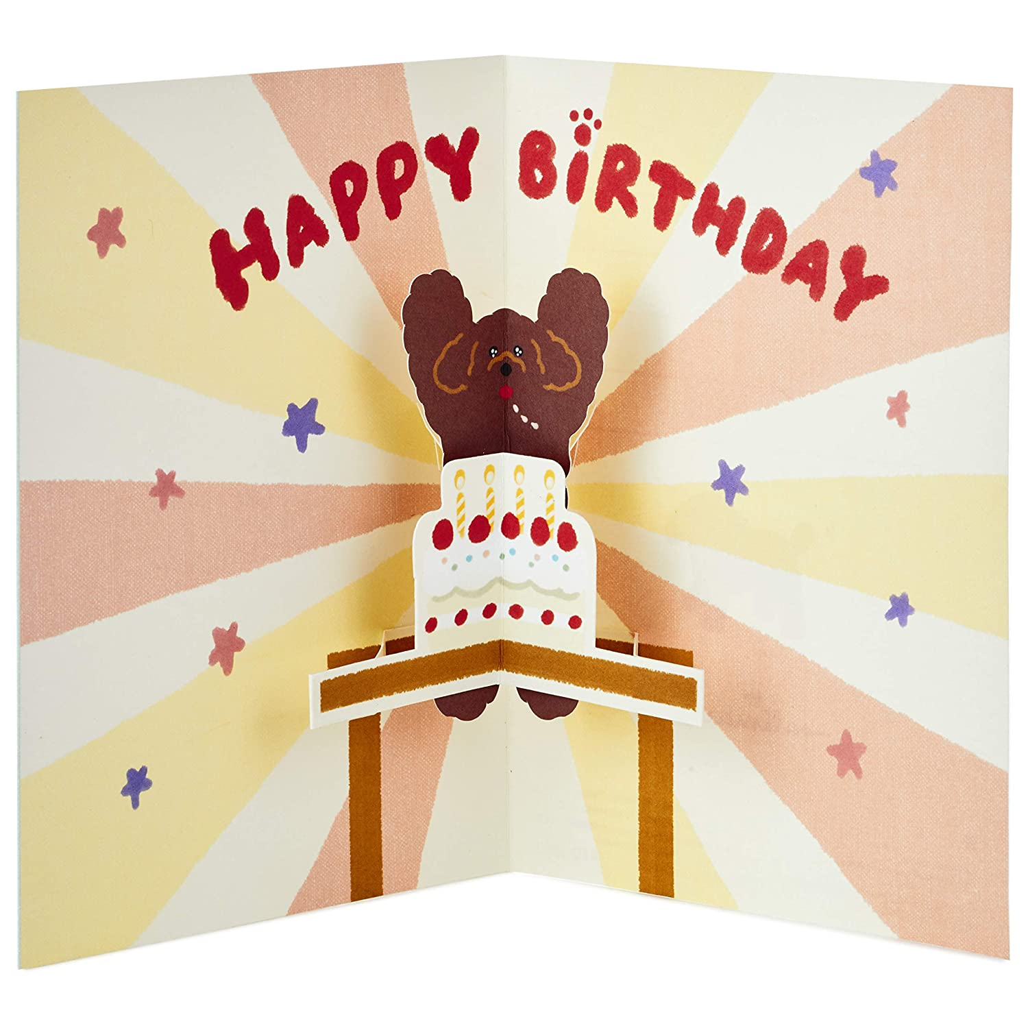 Amazon Hallmark Pop Up Birthday Card Toy Poodle With Cake Office Products