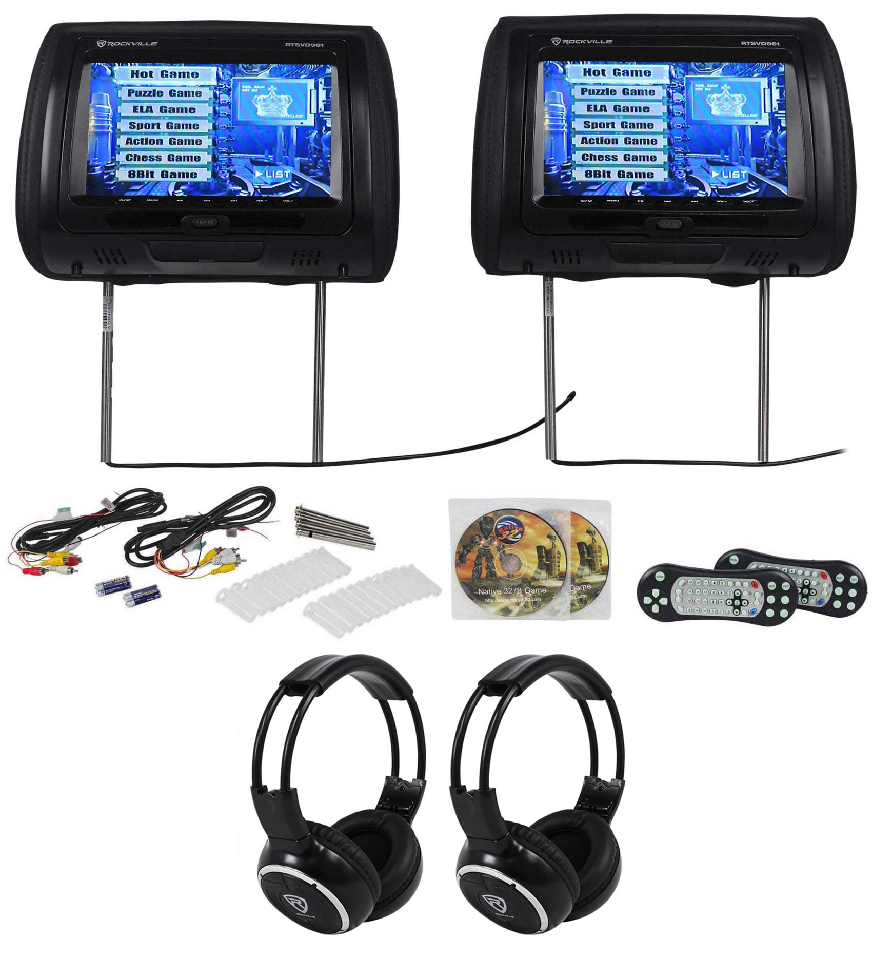 "Rockville RTSVD961-BK 9"" Black Touchscreen DVD/HDMI Headrest Monitors+Headphones by Rockville"