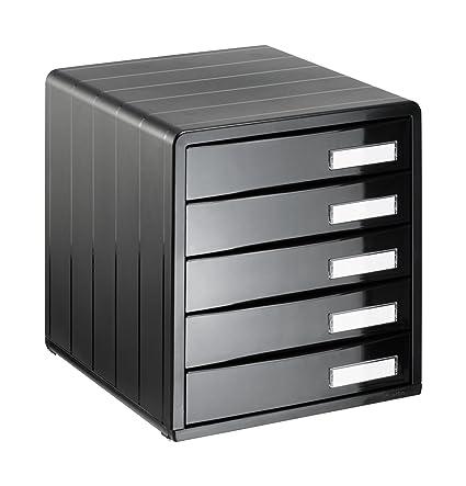 Rotho 1132080080 Timeless - Cajón Archivador de Oficina (5 Cajones) A4, color negro