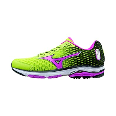 new styles 3ef54 aafed Mizuno Running Shoes Woman Officially 2015 2016 Wave Rider 18 WOS  J1GD150365 Green Pink Black Size 40  Amazon.co.uk  Shoes   Bags