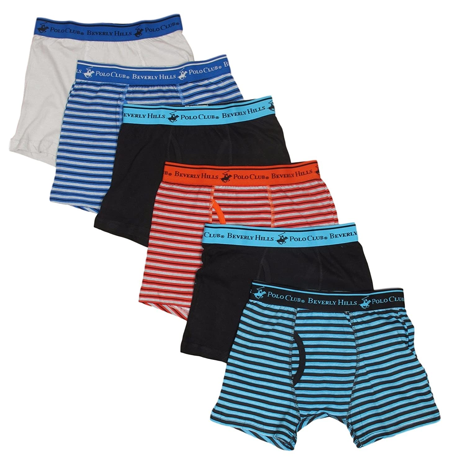 Beverly Hills Polo Club Boys' Boxer Briefs (Pack of 6)