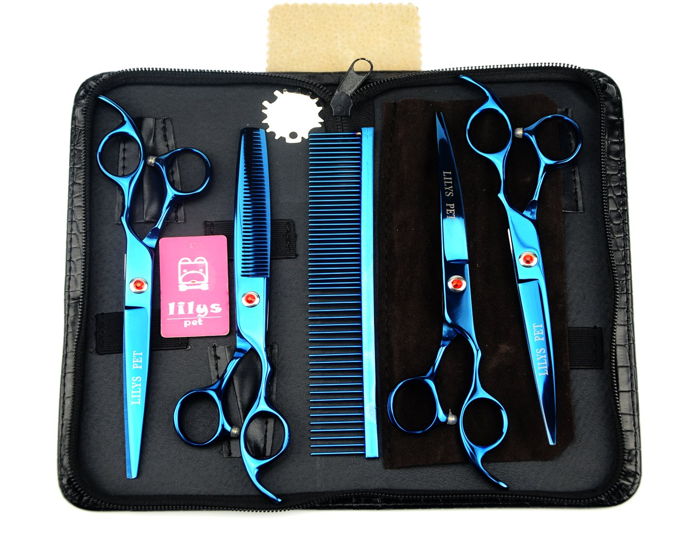 bluee LILYS PET 7  Professional blueE PET DOG Grooming scissors suit Cutting&Curved&Thinning shears(blueE)