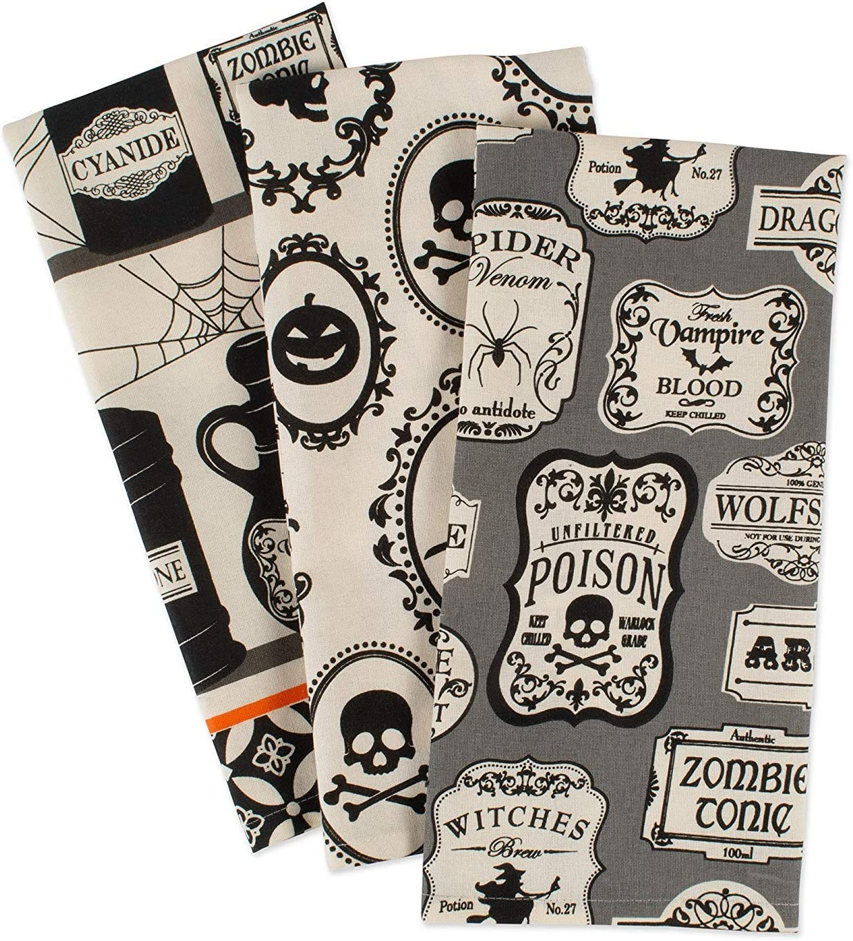Set of 3 Perfect Home and Kitchen Gift DII CAMZ10889 Cotton Halloween Holiday Dish Decorative Oversized Towels Hocus Pocus