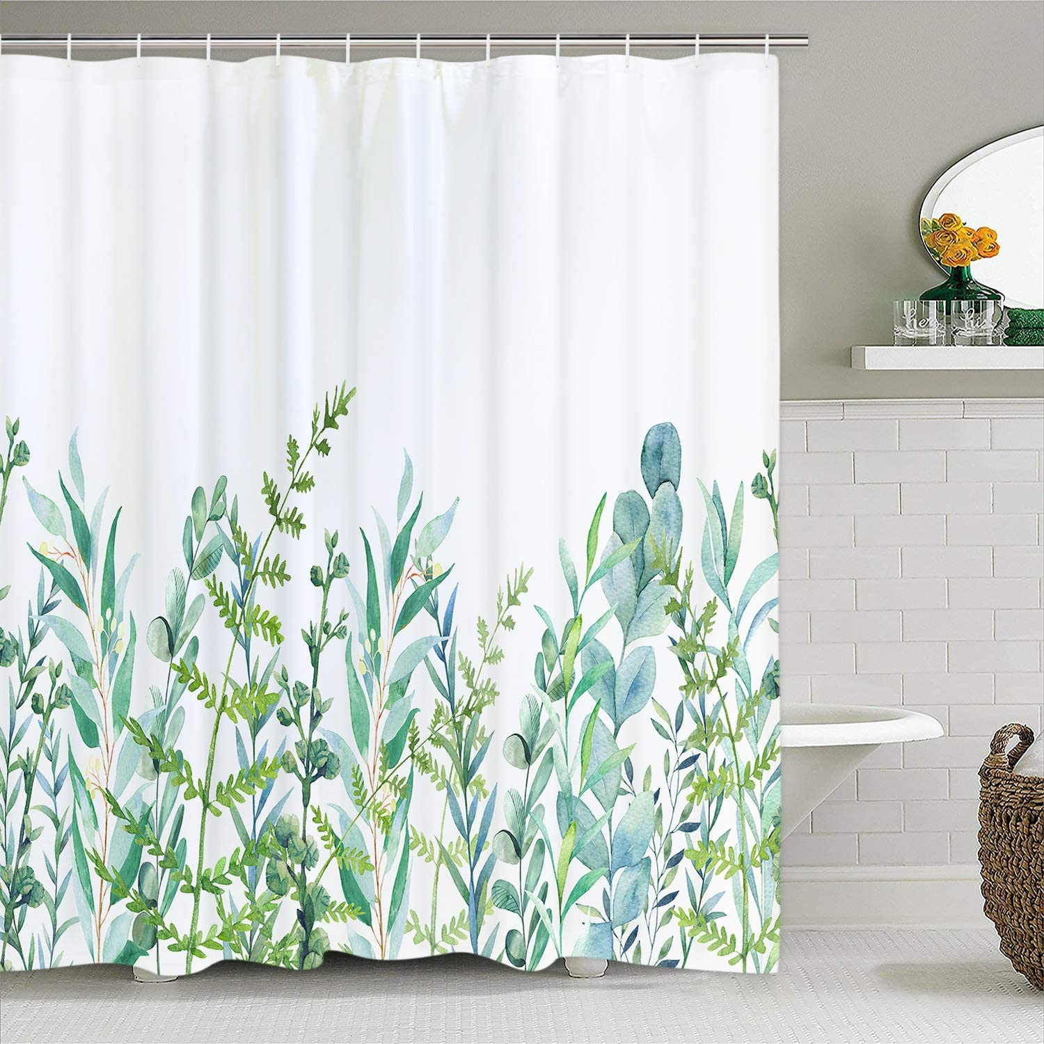 Alishomtll Botanical Shower Curtain Leaf Shower Curtain with 12 Hooks, Plant Floral Shower Curtain Nature Flower Shower Curtain for Bathroom