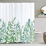 BLEUM CADE Botanical Shower Curtain Leaf Shower Curtain with 12 Hooks, Plant Floral Shower Curtain Nature Flower Shower Curtain for Bathroom