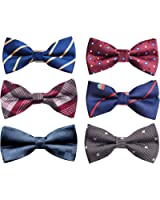 Alizeal Men's Pre-tied Adjustable Bow Tie 6pc/8pc Mixed Lot