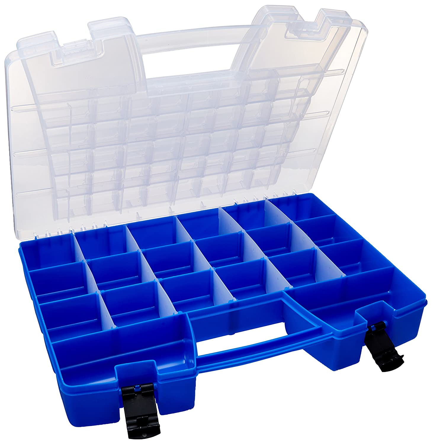Akro-Mils 06118 Plastic Portable Hardware and Craft Parts Organizer, Large, Blue