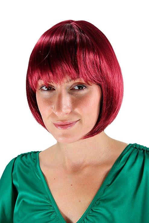 Wig Me Up Perruque Pour Femme Carré Plongeant Couleur Auberginerouge Coupe Lisse Et Arrondie 25cm