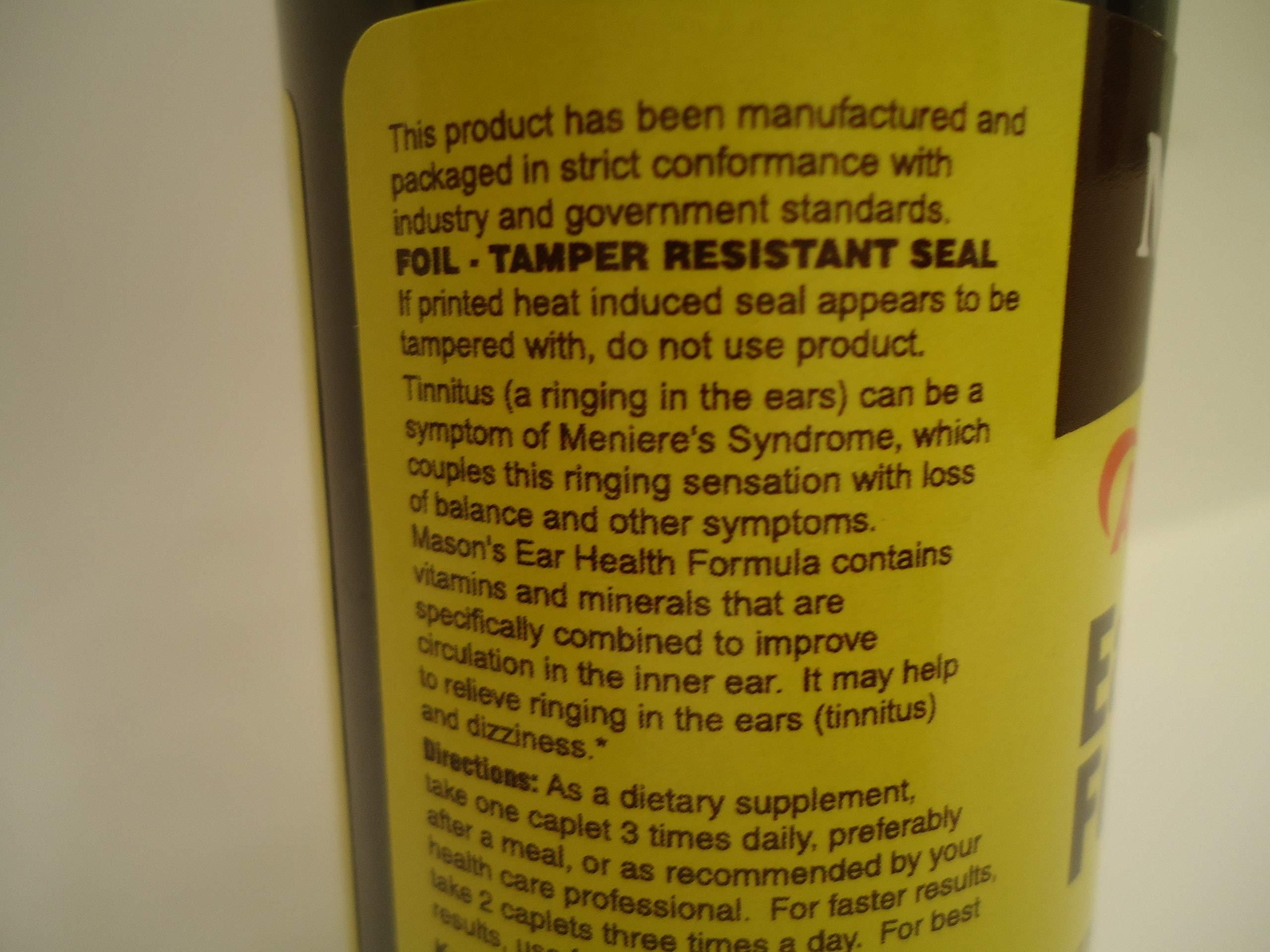Mason Natural Advance Ear Health Formula Bioflavonoids Plus 100 Caplets per Bottle Pack of 4 Total 400 Caplets