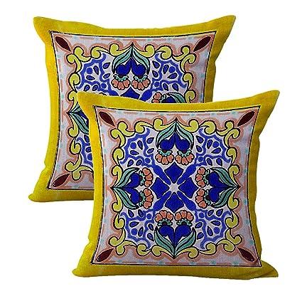 Amazon.com: set of 2 Mexican Spanish talavera cushion cover ...