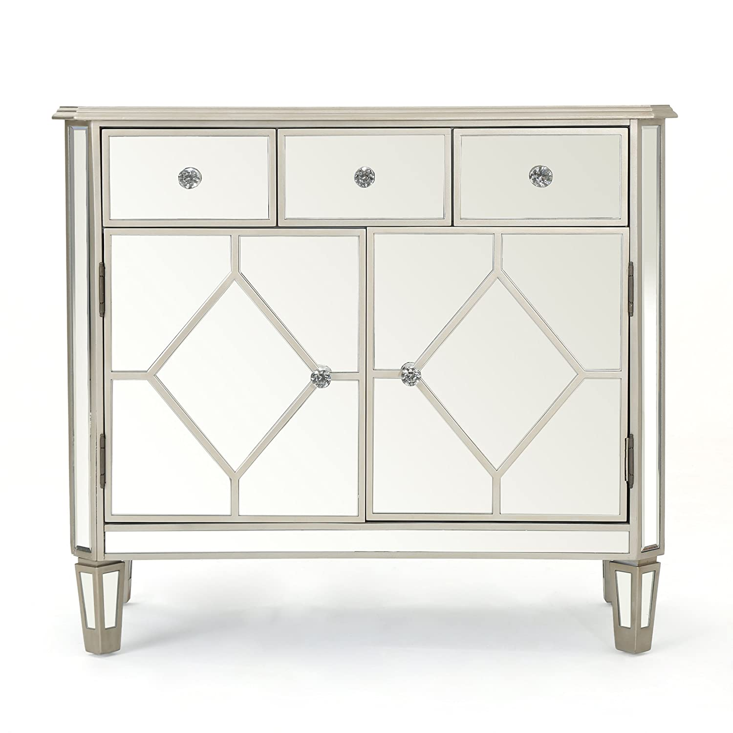 Amazon.com: Tobin Silver Finished Mirrored 5 Drawer Cabinet with Faux Wood  Frame: Kitchen & Dining