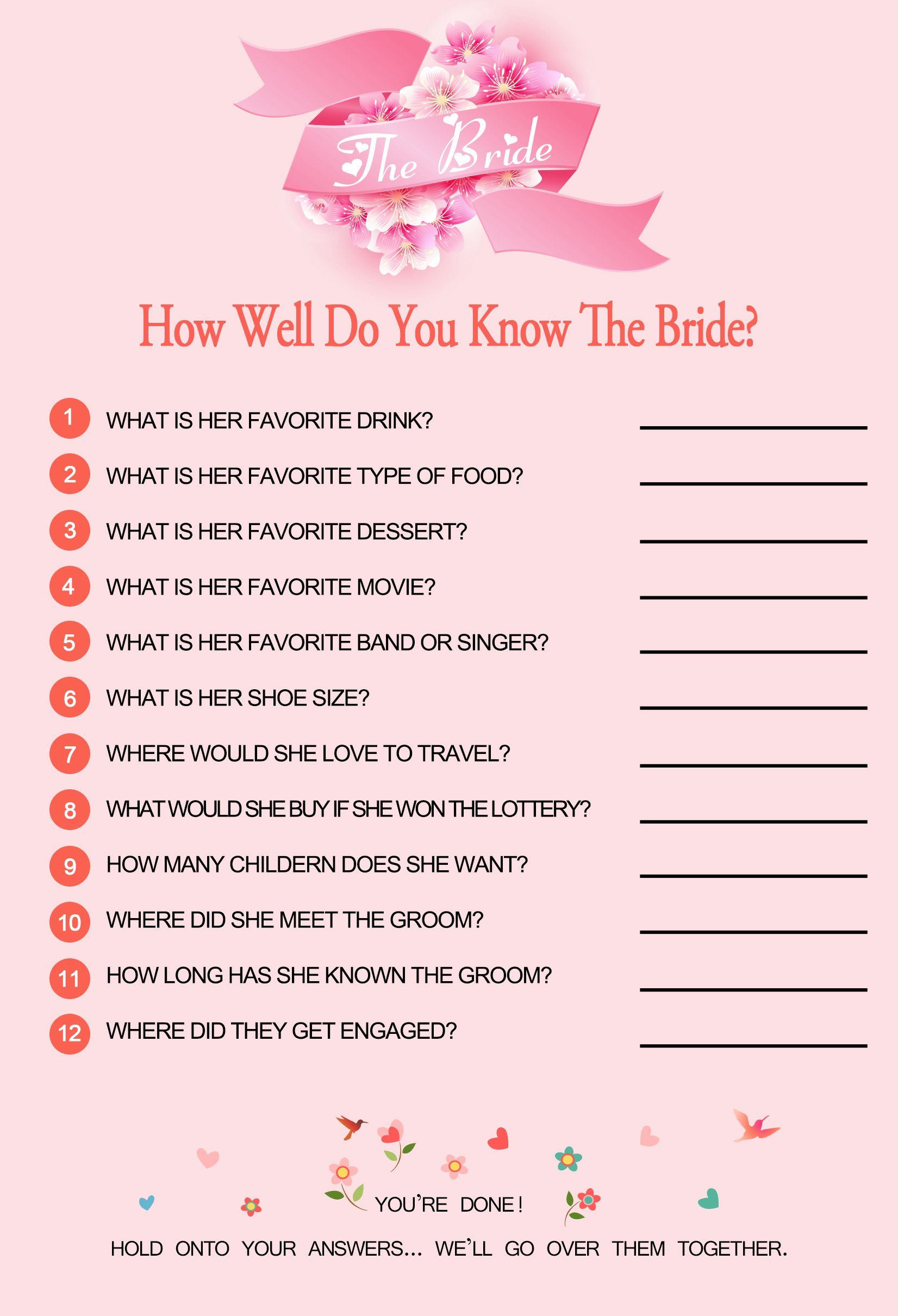 E-TING How Well Do You Know The Bride (45 Sheets) - Bridal Shower And Wedding Anniversary Games