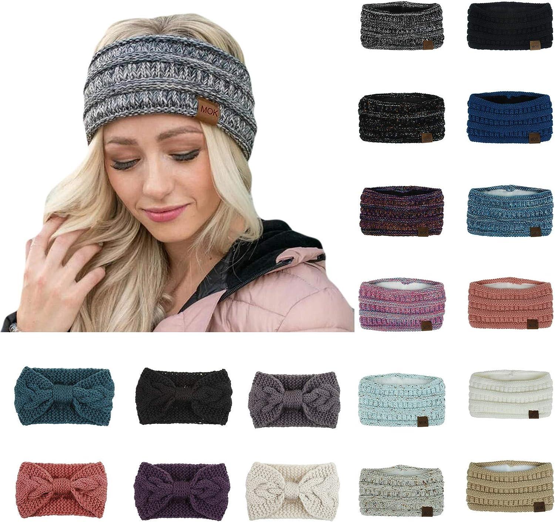 Hicdaw 6PCS Winter Headband for Women Cable Knitted Headbands Stretch Ear Warmer Headband Gift for Women girls