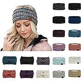 AKIWOS Womens Winter Ear Warmer Headband - Warm Winter Cable Knit Headband for Women, Soft Stretchy Thick Fuzzy Head…