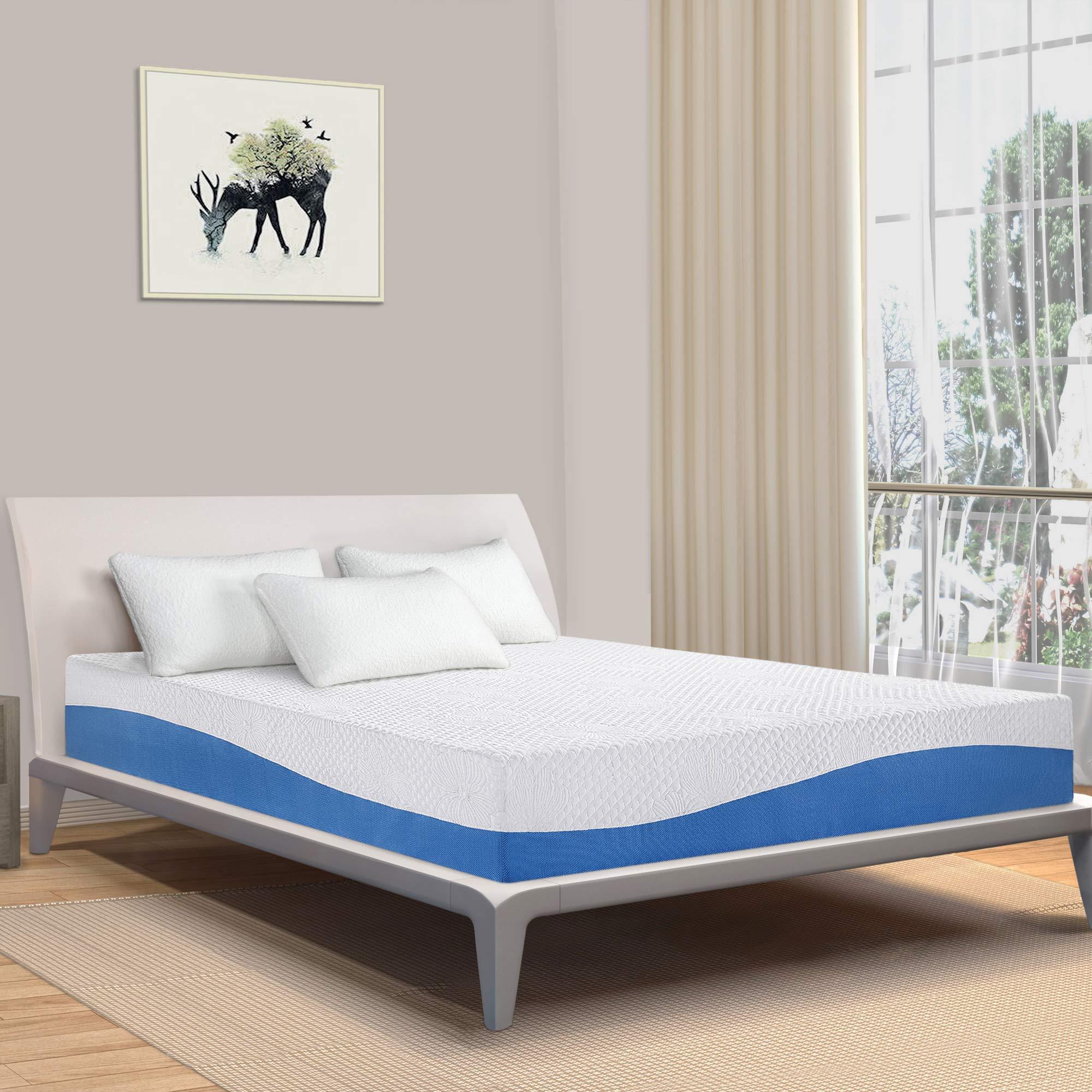 PrimaSleep Wave Gel Infused Memory Foam Mattress, 10'' H, Full, Blue