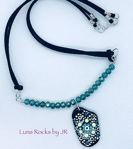 Amazon Com Hand Painted Stone Pendant Beads Bar Necklace Hand