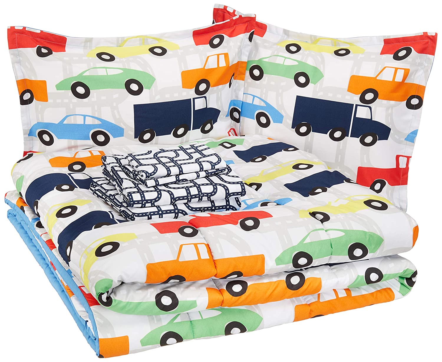 AmazonBasics Kid's Bed-in-a-Bag - Soft, Easy-Wash Microfiber - Full/Queen, Multi-Color Racing Cars
