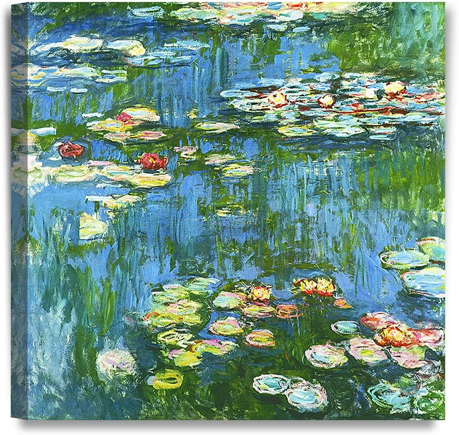 DECORARTS - Water Lily Pond 1914, Claude Monet Art Reproduction. Giclee Canvas Prints Wall Art for Home Decor 16x16