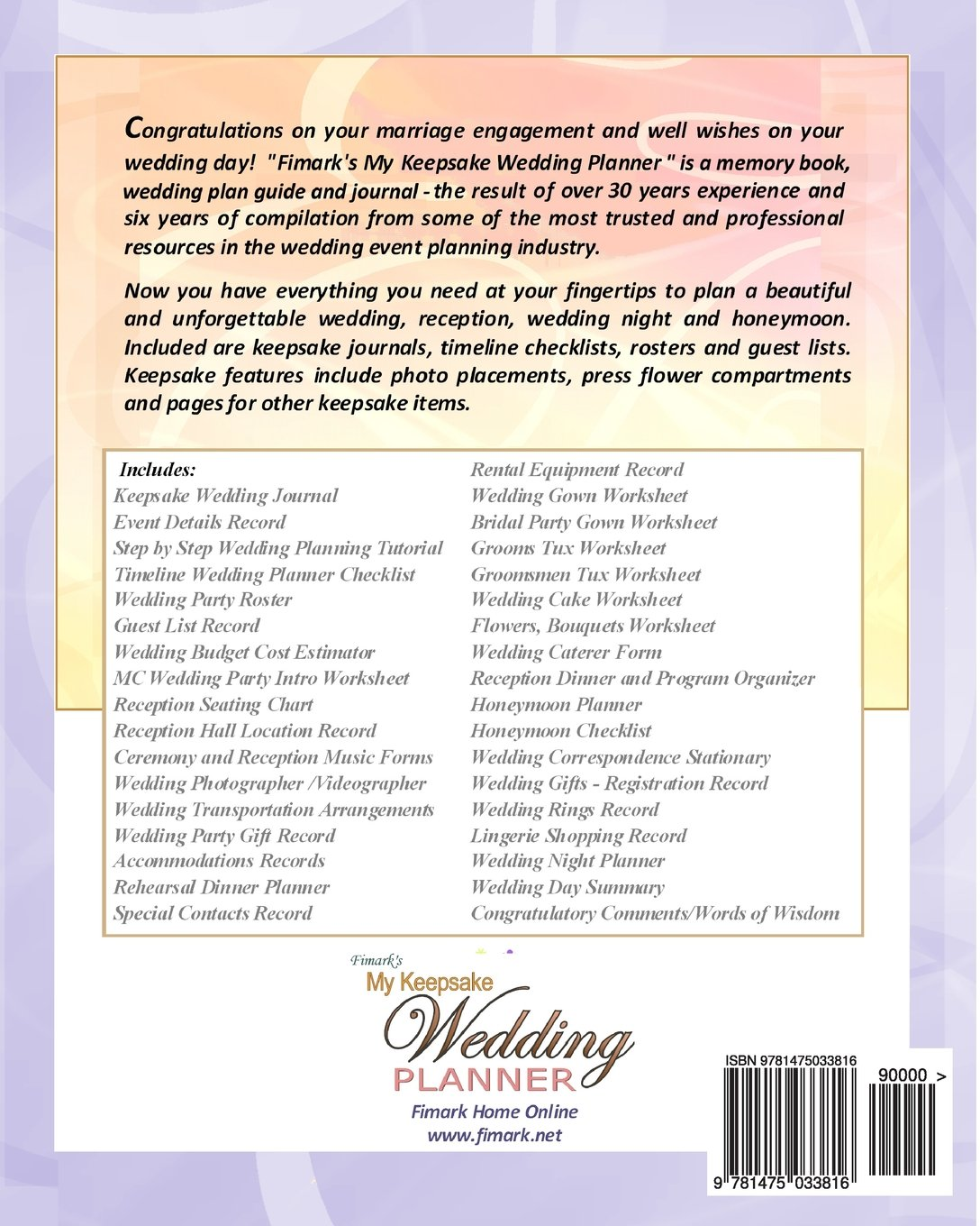 Fimarks My Keepsake Wedding Planner Mark Angelo Askew Brenda