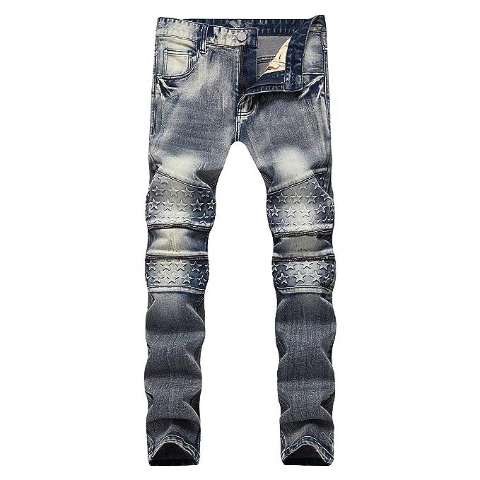 Finrosy Pantalones Vaqueros Rotos Biker Jeans de Hombre Estrella Cremallera Slim Fit Ajustados Elásticos