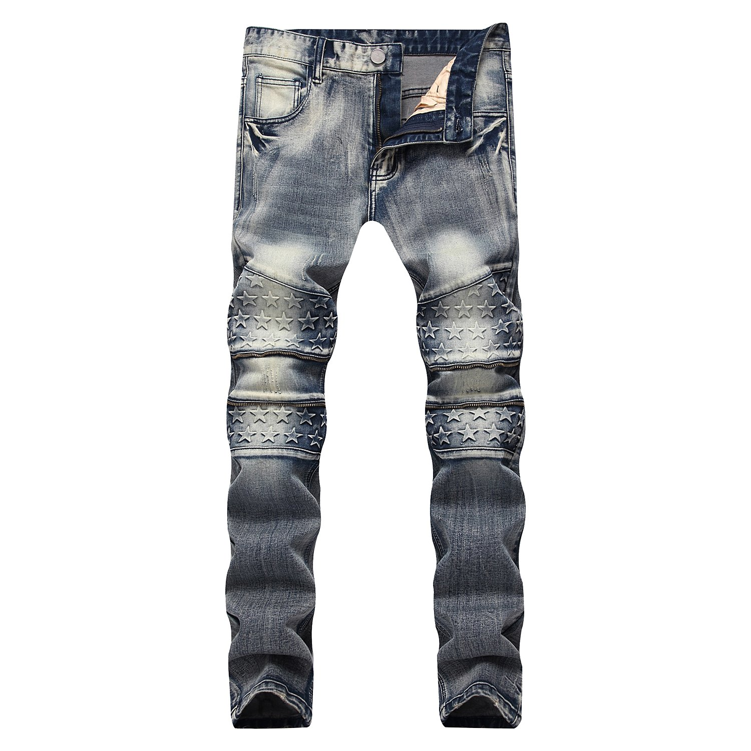 Finrosy Men's Ripped Biker Jeans Distressed Straight Fit Jeans with Zipper Holes for Men(Star, 34Wx32L)
