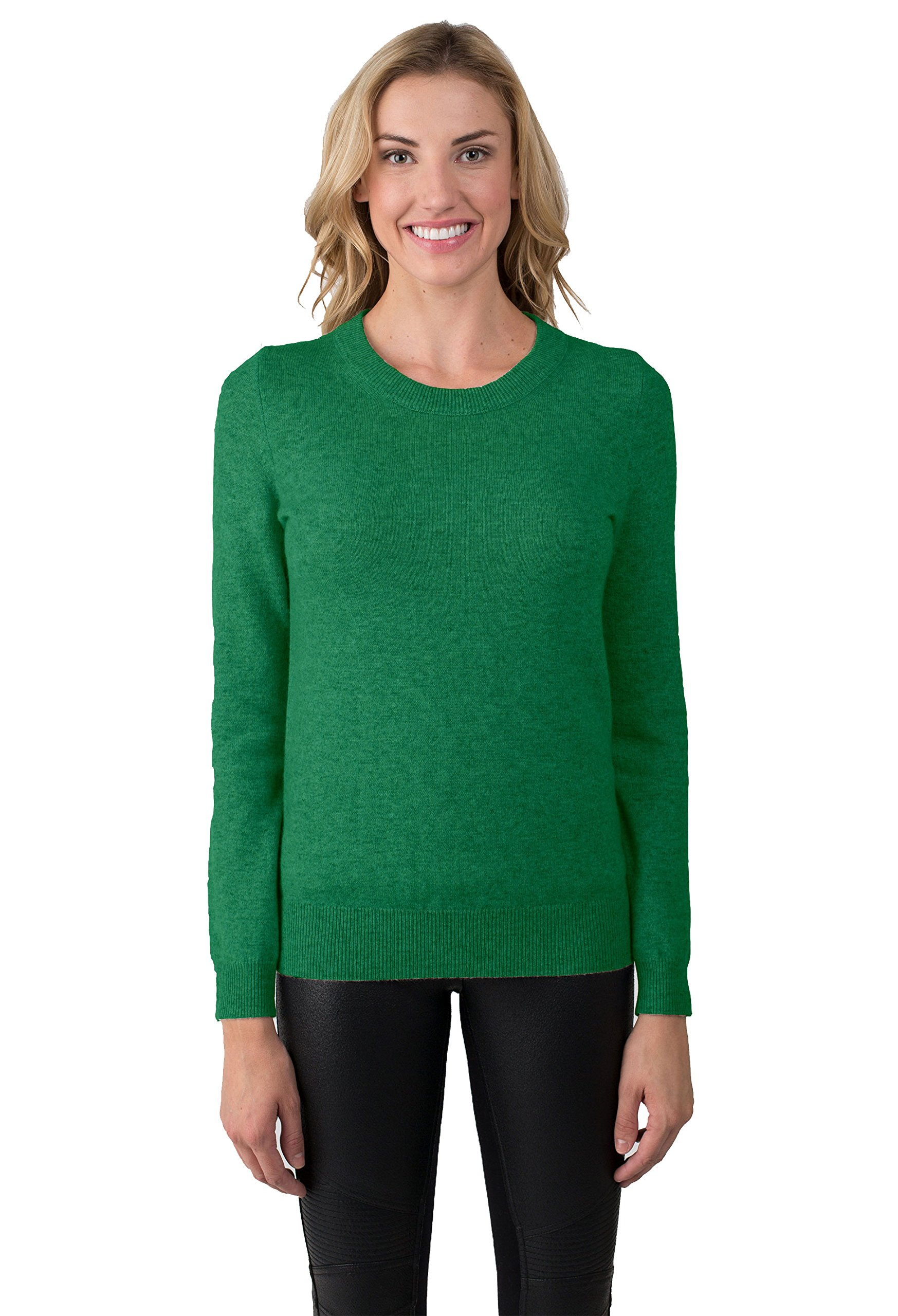 JENNIE LIU Women's 100% Pure Cashmere Long Sleeve Crew Neck Sweater (M, Forest?
