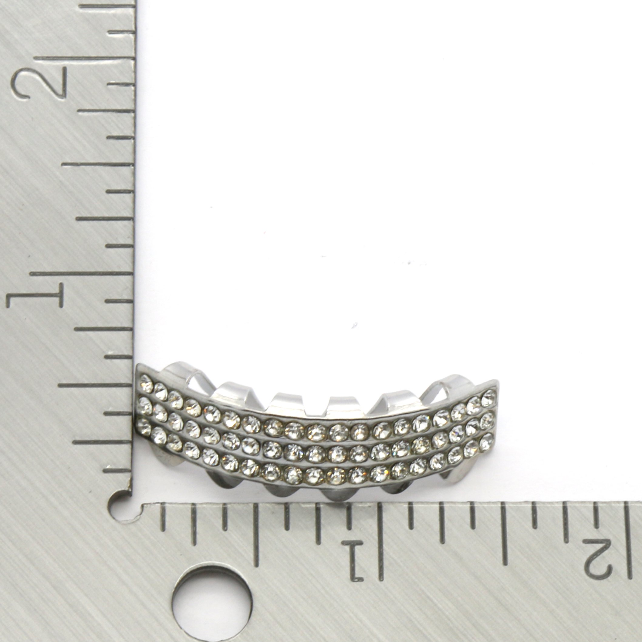 Hip Hop Bottom Row Silver Tone 3 Clear Rows Removeable Grillz