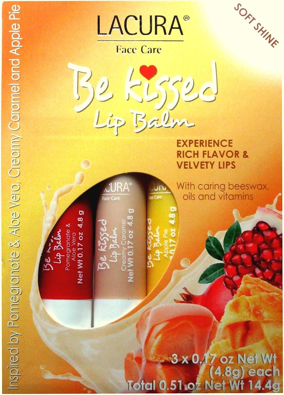 LACURA Face Care Be Kissed Lip Balm Soft Shine Pomegranate, Aloe Vera, Creamy Caramel Apple Pie – 3 Flavors x 0.17 oz Each