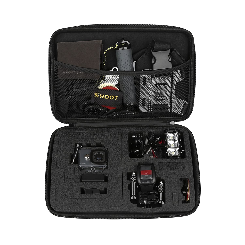 Shoot EVA Estuche de Transporte para GoPro Hero (2018)/6/5/4/3 GoPro Fusion/GoPro Session/SJCAM SJ4000 5000 6000 YI CAM APEMAN WiMiUS Rollei QUMOX y Accesorios,Negro,16 x 12 x 6.5cm xtgp0565