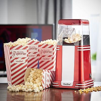 VonShef Retro Vintage Hot Air Popcorn Maker with 6 Boxes & FREE 500g Bag of Kernels