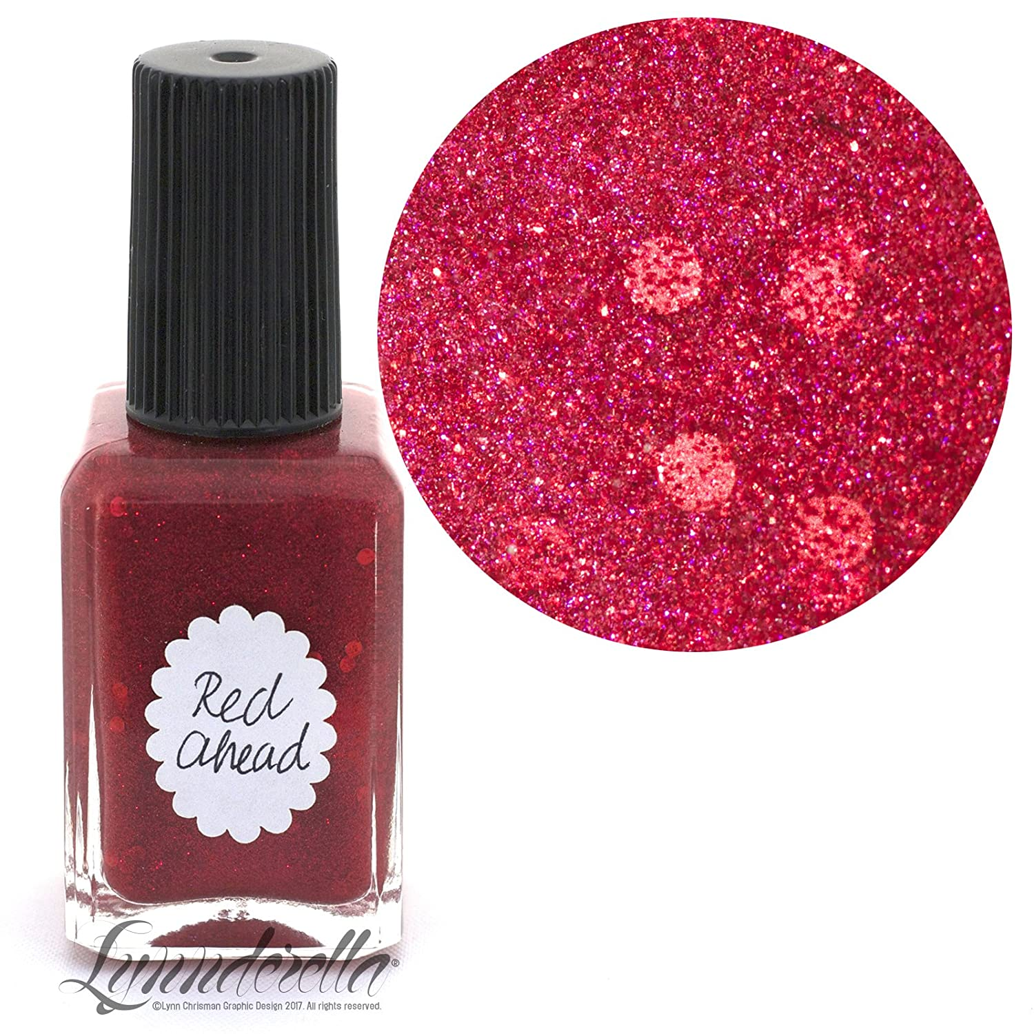 Amazon.com: Lynnderella Nail Polish—Red Ahead—Accented Red Micro ...