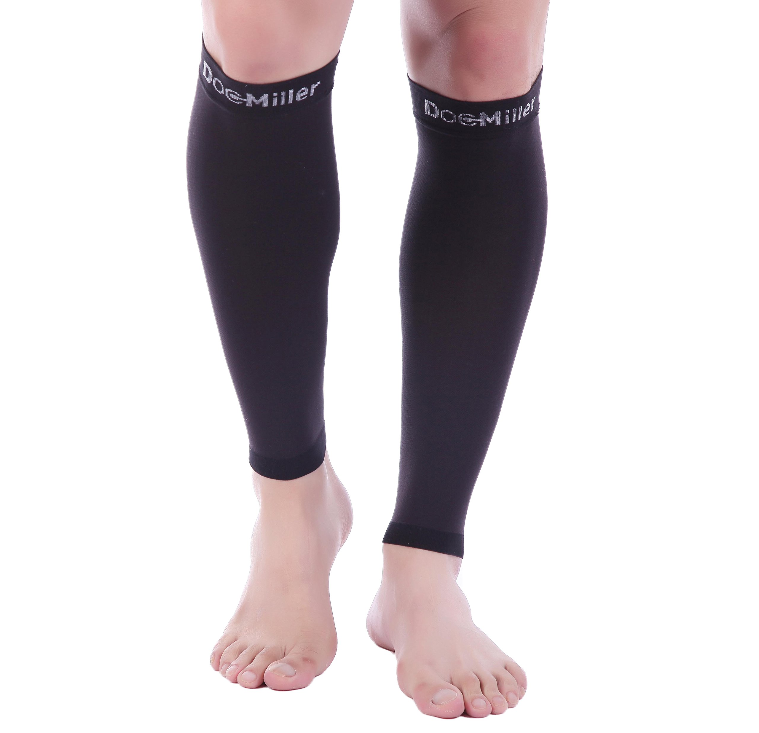 Doc Miller Premium Calf Compression Sleeve 1 Pair 20-30mmHg Strong Calf Support Multiple Colors Graduated Pressure for Sports Running Muscle Recovery Shin Splints Varicose Veins (Black, Small)