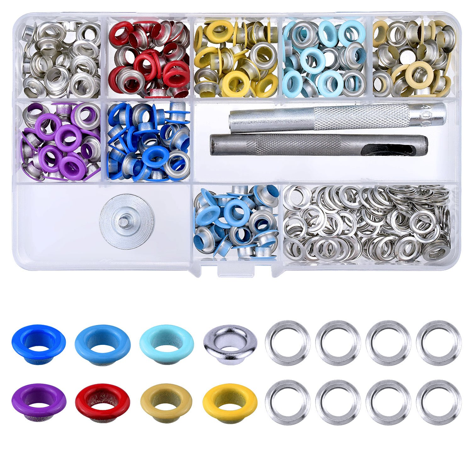 BTNOW 240 Pieces Grommet Kit Metal Eyelet Kit for Bag, Shoes, DIY Project, 8 Colors, 1/4 inches 4337005516