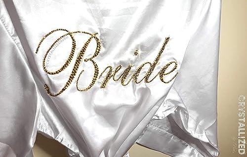 Amazon Com Swarovski Crystallized Bride Robe Kimono Satin Silk White Wedding Bridal Bling Crystals Thigh Or Knee Length Handmade