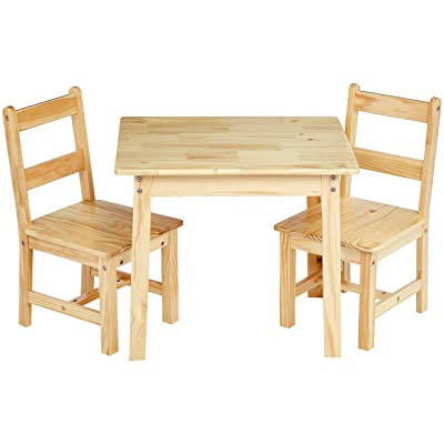 Basics Kids Solid Wood Table and 2 Chair Set, Natural: Industrial & Scientific