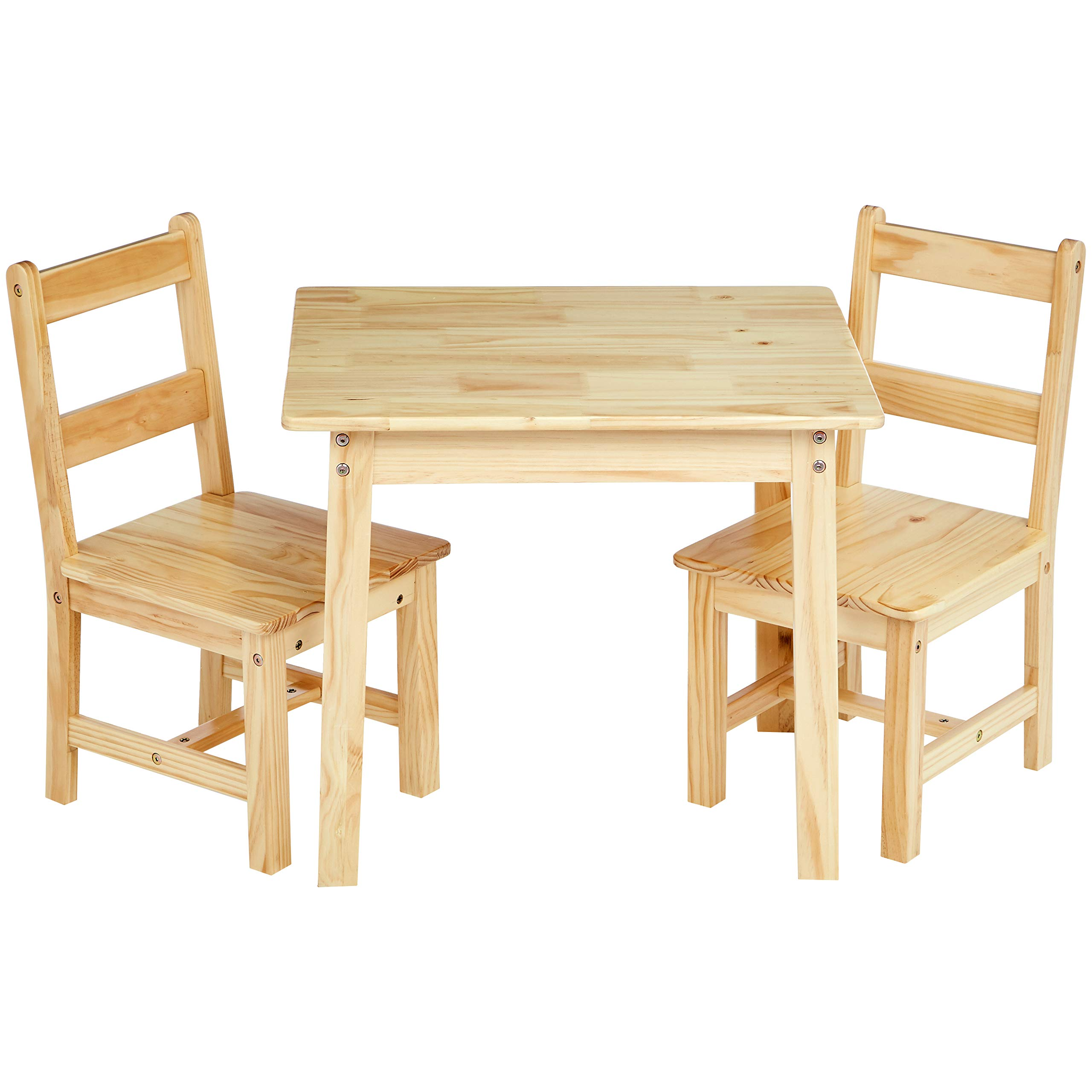 AmazonBasics Kids Solid Wood Table and 2 Chair Set, Natural by AmazonBasics