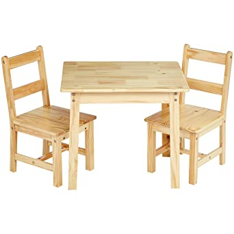 Strange Amazonbasics Kids Solid Wood Table And 2 Chair Set Natural Interior Design Ideas Philsoteloinfo