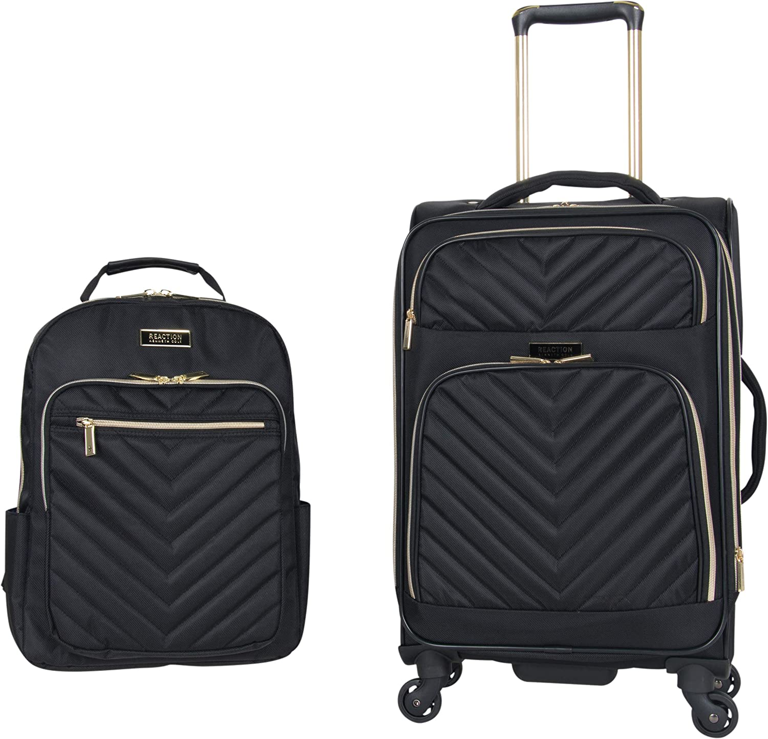 "Kenneth Cole Reaction Women's Chelsea 2-Piece 20"" Expandable 4-Wheel Carry-On Suitcase & Matching 15"" Laptop Backpack, Black"
