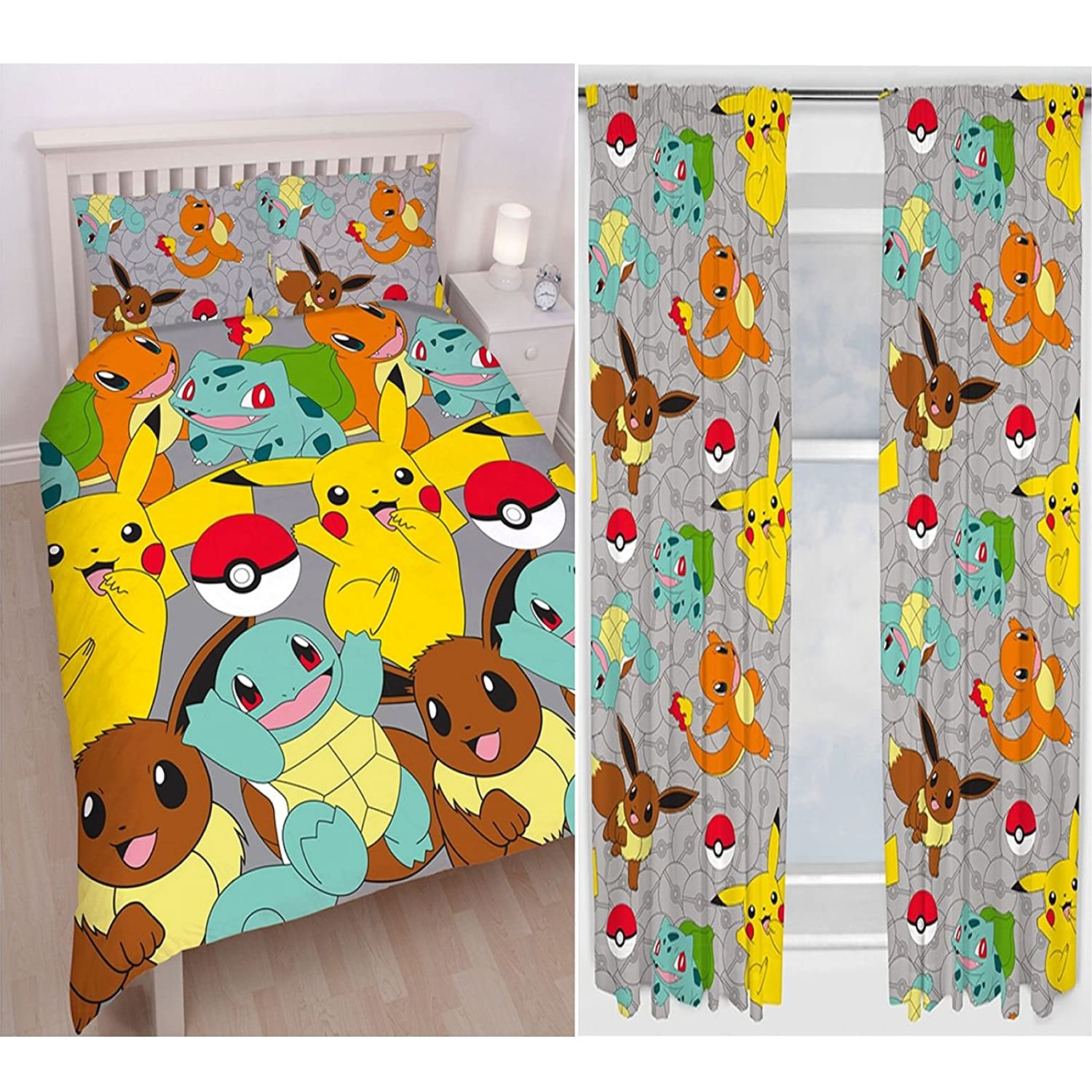 Pokemon Catch Double Duvet Cover Set + Matching 54 Curtains