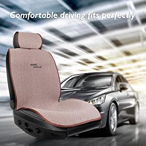 Sojoy IsoTowel Car Seat Cover. Microfiber Seat Protector, with Quick-Dry, No-Slip Technology. Car seat Protection for All Workouts, All-Weather (Grey) (Brown &Tan)