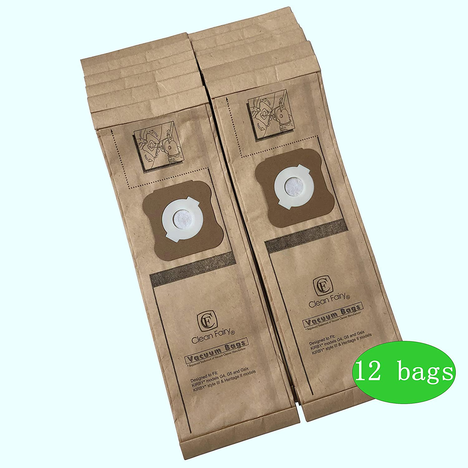 Clean Fairy Micro-Lined Vacuum Bags Style G Fit for Kirby Models G3 G4 G5 Gsix G7 and Style III & Heritage II Models Replacement Kirby Part#197294 197394 (12 Bags)