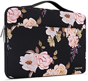 MOSISO Laptop Sleeve 360 Protective Case Bag Compatible with 13-13.3 inch MacBook Pro, MacBook Air, Notebook, Polyester Pattern Shockproof Handbag with Trolley Belt, Pink Peony
