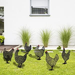 Jetec 6 Pieces Chicken Yard Garden Decoration Hollow Out Animal Shape Decor Garden Statue Sculpture Chicken Yard Decor Garden Acrylic Statue Decor for Home Backyard Lawn, Large Size