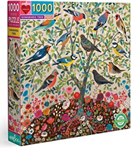 eeBoo's Piece and Love Songbirds Tree 1000 Piece Square Adult Jigsaw Puzzle